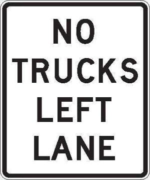No Trucks Left Lane