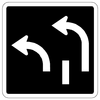 Two Lane Left Turn Sign