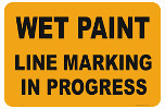 wet paint line marking sign